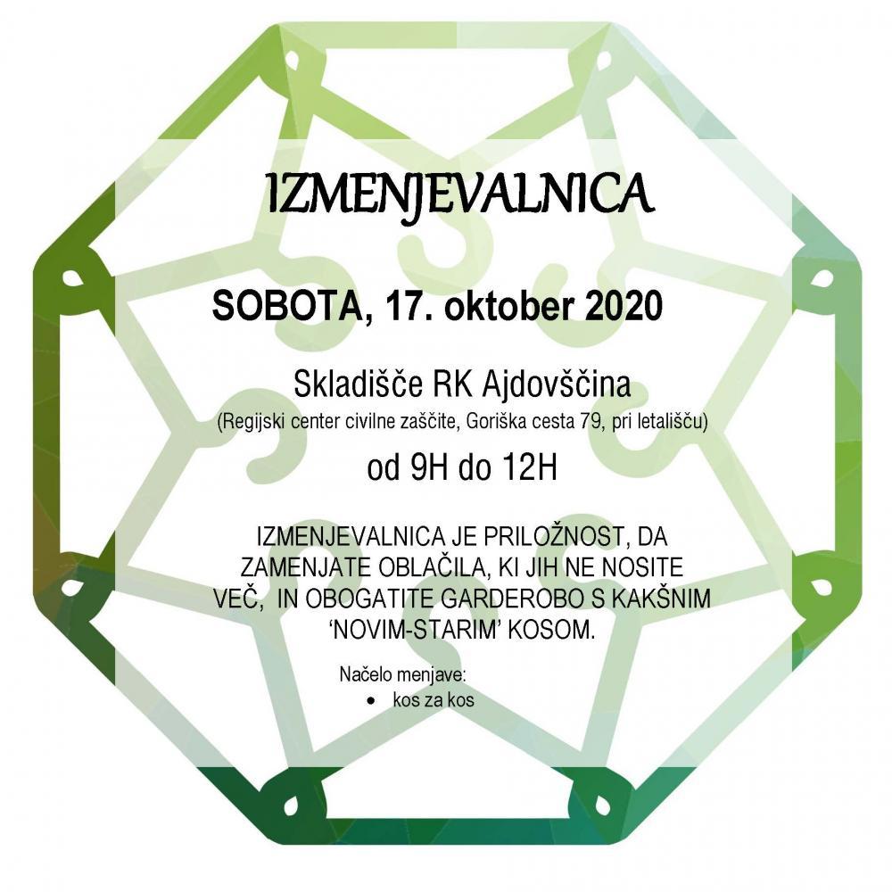 Izmenjevalnica bo v soboto, 17. oktobra v skladišču RK Ajdovščina, Goriška cesta 79. Stvari bomo izmenjevali od 9 do 12 ure.