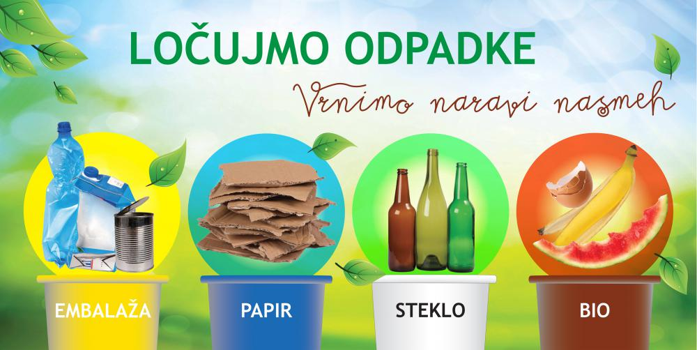 Ločene frakcije komunalnih odpadkov: mešana embalaža, papir in karton, steklena aembalaža, biorazgradljivi kuhinjski odpadki