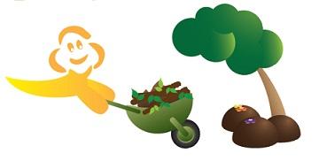 Teta burja - maskota pelje samokolnico zelenega vrtnega odpada