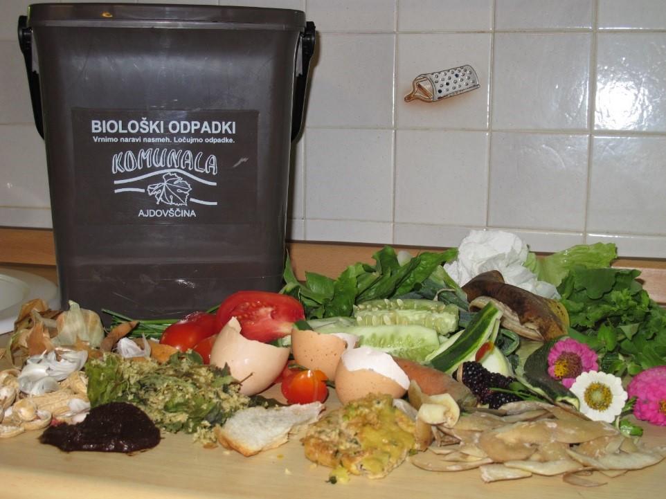Biorazgradljivi kuhinjski odpadki na pultu, poleg posode za zbiranje biorazgradljivih odpadkov
