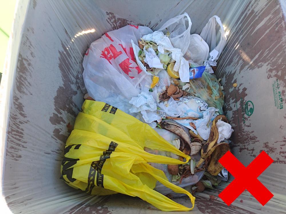NEPRAVILNO -  biorazgradljivi odpadki v zabojniku s plastičnimi vrečkami