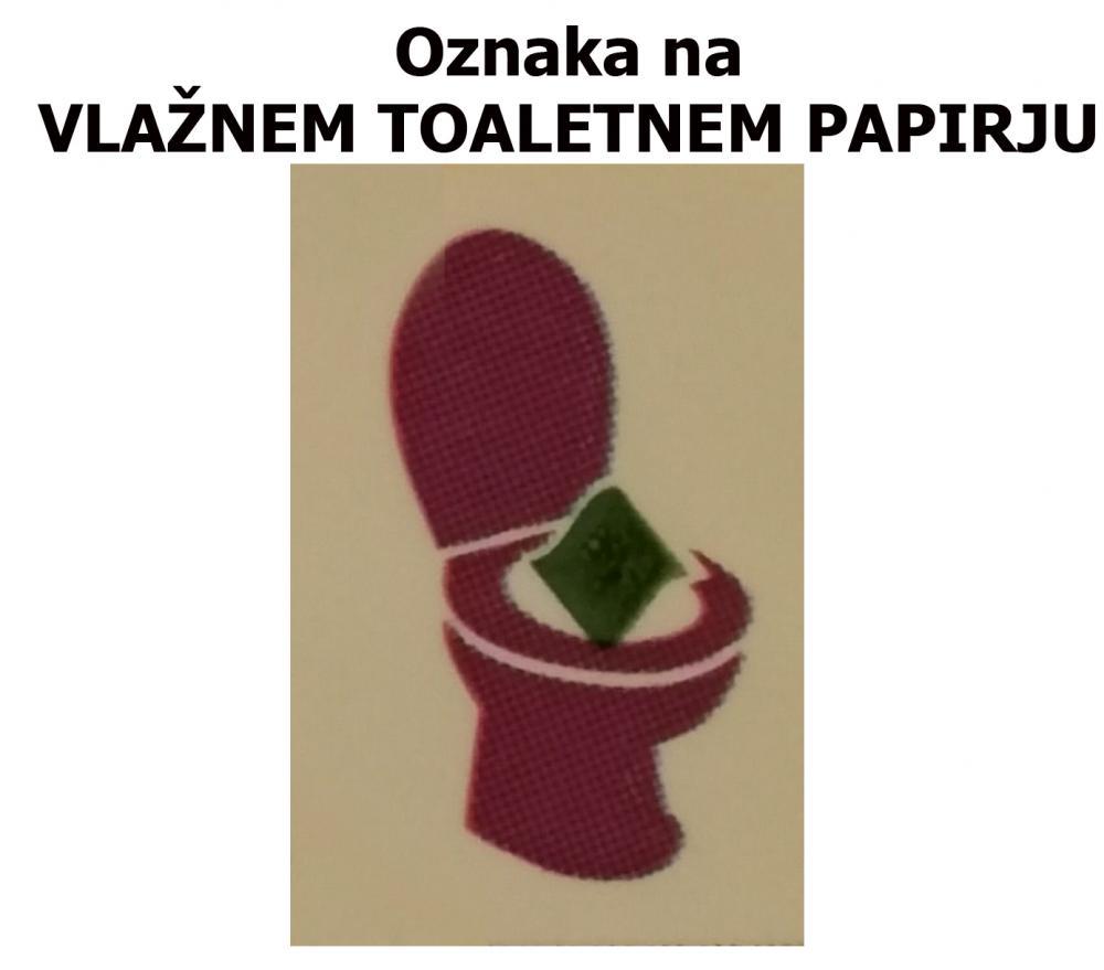 Oznaka na vlažnem toaletnem papirju: sodi v WC školjko.