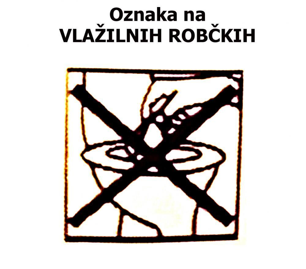 Oznaka na vlažilnih robčkih: Ne odvrzite jih v WC školjko.